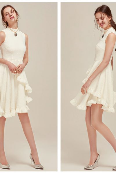 White ripple & ruffles dress 89