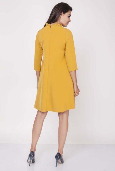back of mustard dress