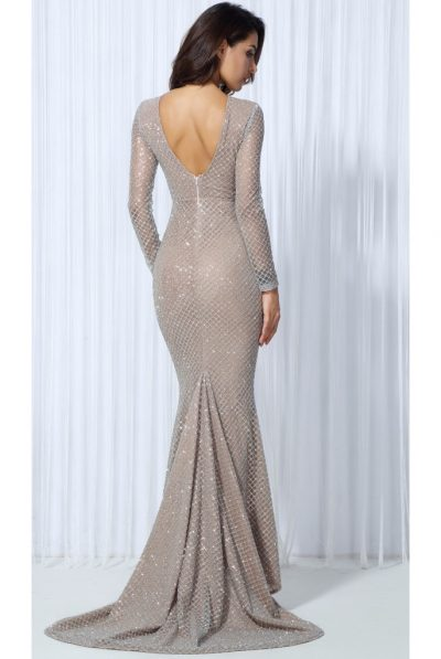 back of sequin gown