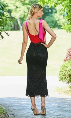 back red lace pink skirt
