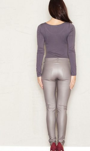 beige leather trousers back