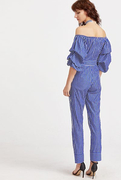blue striped jumpsut 6789