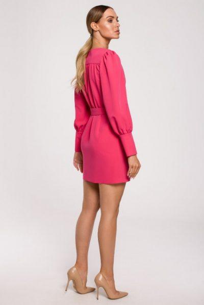 cm6222-sukienka-z-naszytymi-kieszeniami-i-paskiem-z-klamra-rozowa (3)