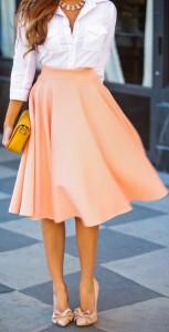 coral big skirt