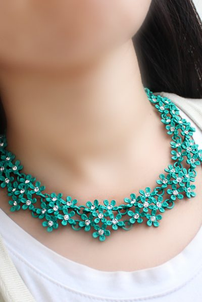 green print necklace