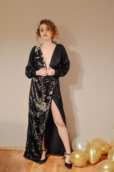 half sequin half dress