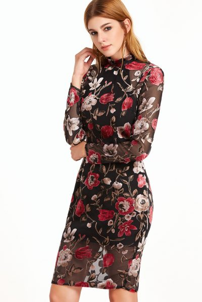high-neck-rose-dress