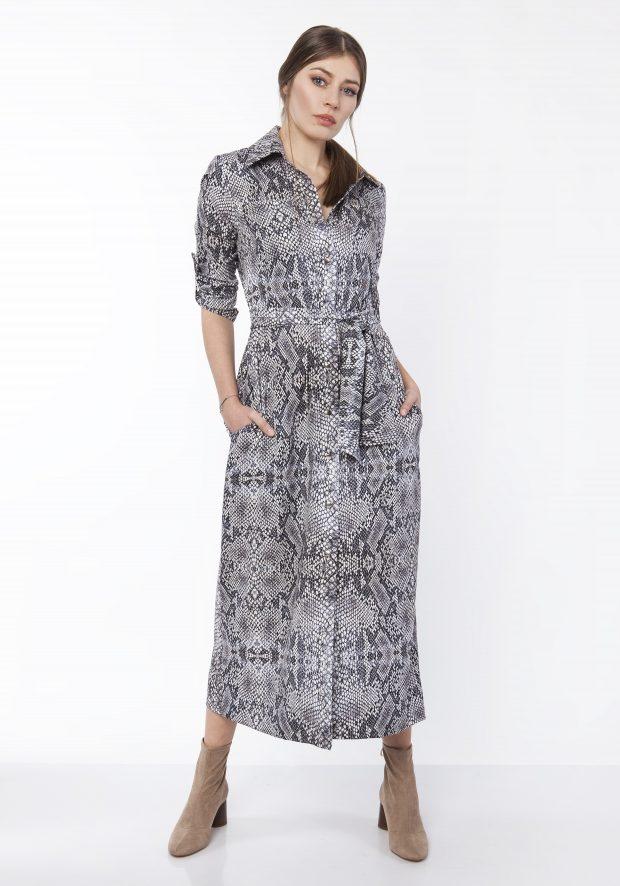 afd2226f92c0 Spring Snake Print Maxi Shirt Dress