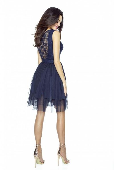 navy tulle dress lace