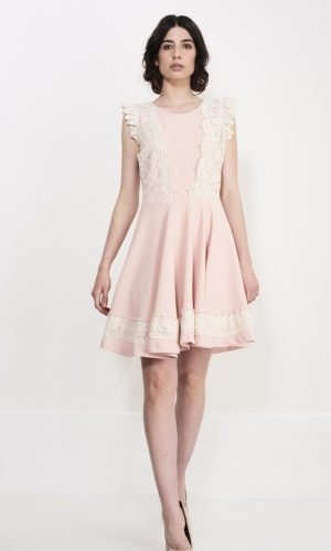 pink flying shoulder dress