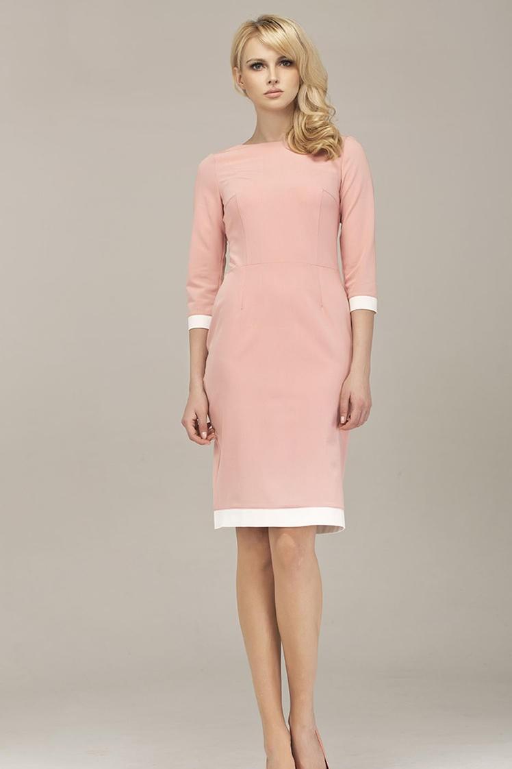 pastel pink midi dress