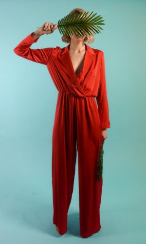 red satin jumpsuit