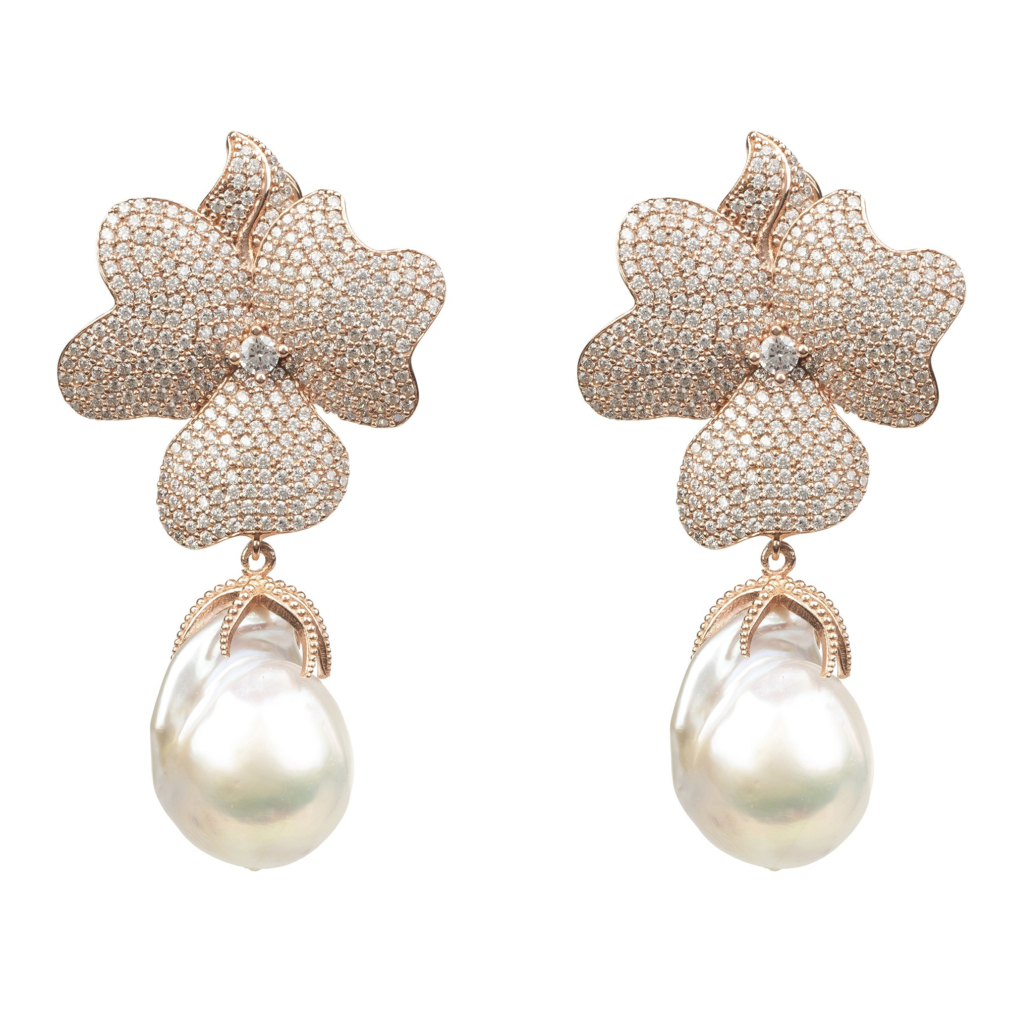 Latelita London White Flower Baroque Pearl Drop Earrings Rosegold