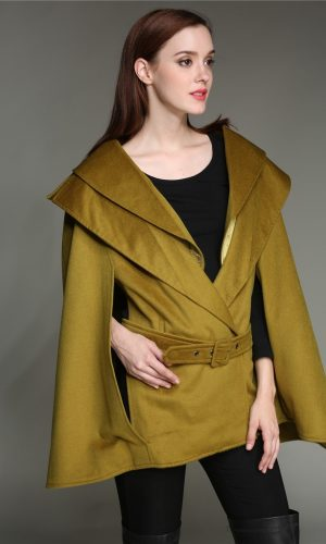 side with green cape belt