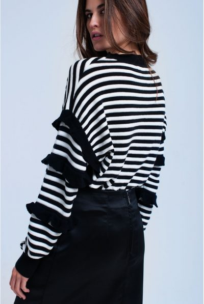 striped sweater with back