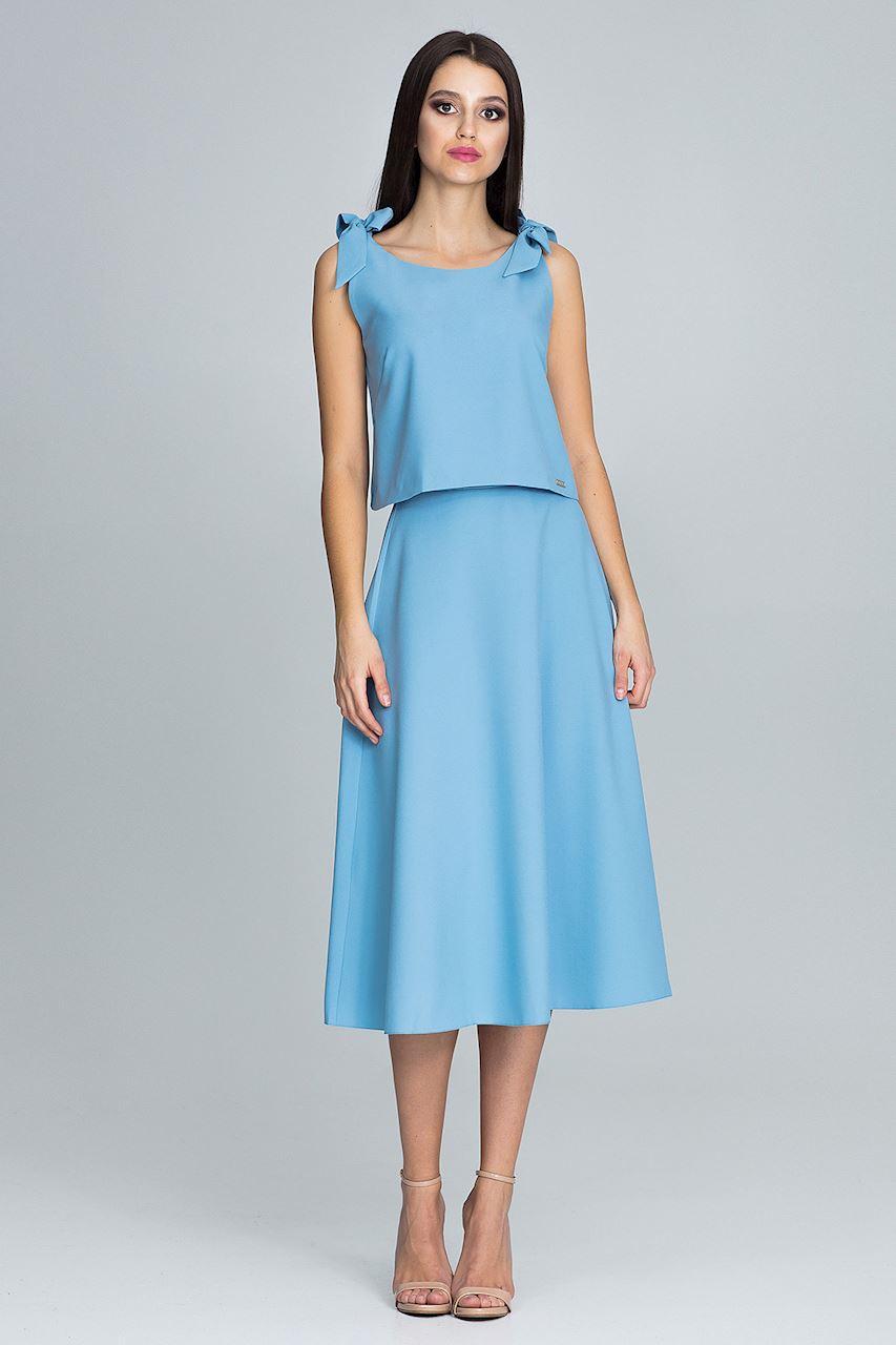 powder blue twopiece skirt  top