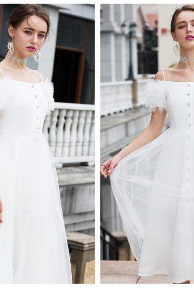 white mesh slevves dress 789