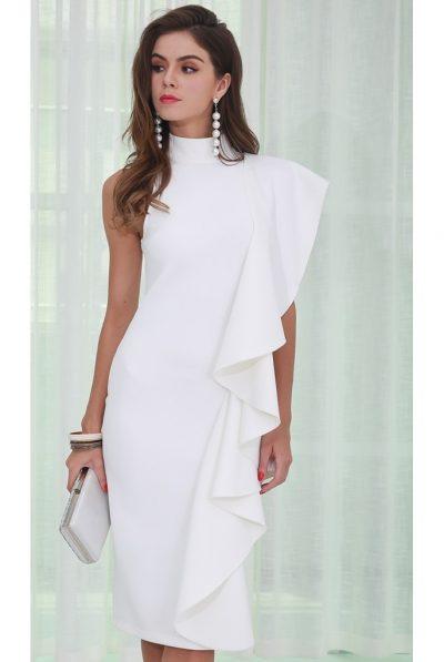 white ruffles midi dress waterfall