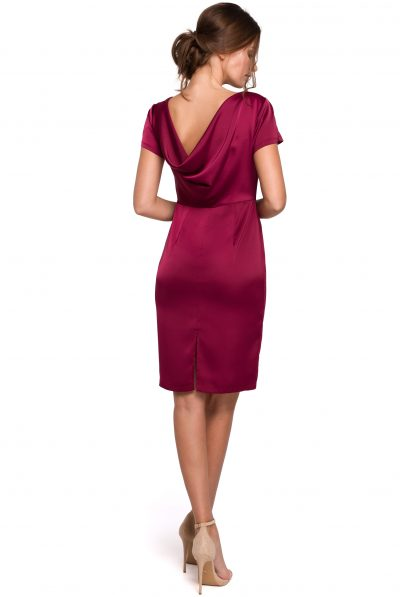 wine silk cowl neck dress
